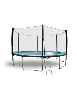 15' Galactic Xtreme Trampoline EXTRA HEAVY DUTY  with Enclosure Safety  and Ladder Combo